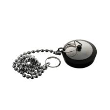 Tapón con cadena para bañera cromado y negro