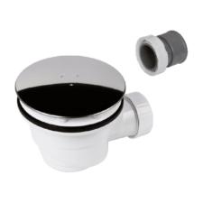 Válvula plato de ducha con tapa en acero inoxidable y cuerpo blanco