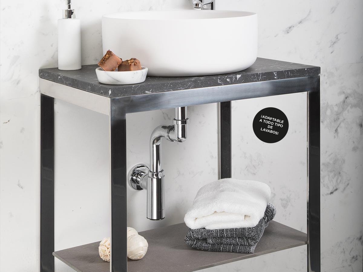 Sifón ahorra espacio lavabo